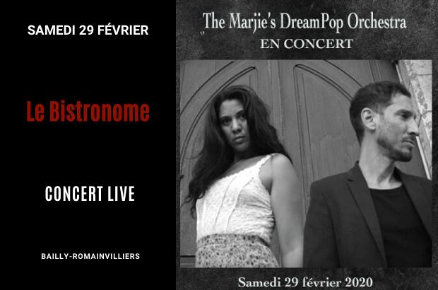 Concert au Restaurant Le Bistronome le 29 février avec Marjie's Dream Pop Orchestra