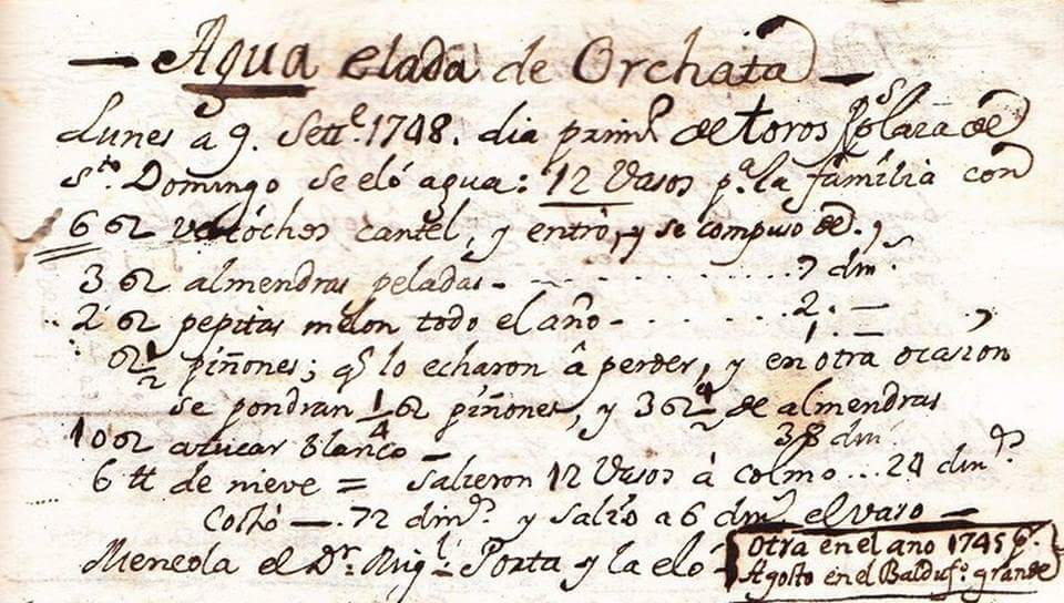 """Primera receta de Horchata de la historia. Pertenece a la """"@Colección Espínola""""."""
