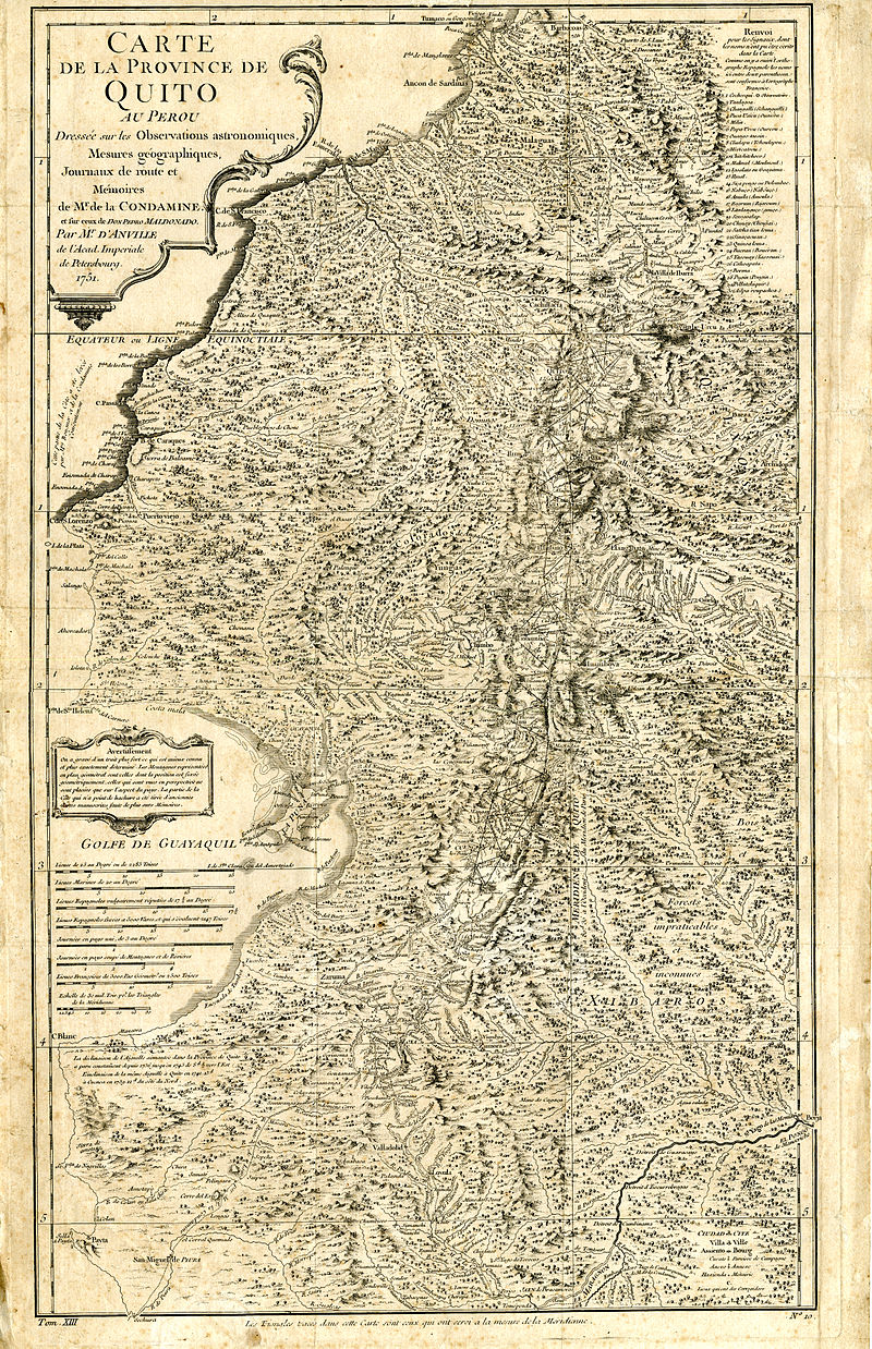 Carta Geográfica de la Costa Occidental en la Audiencia del Quito (1751), por Pedro Vicente Maldonado.
