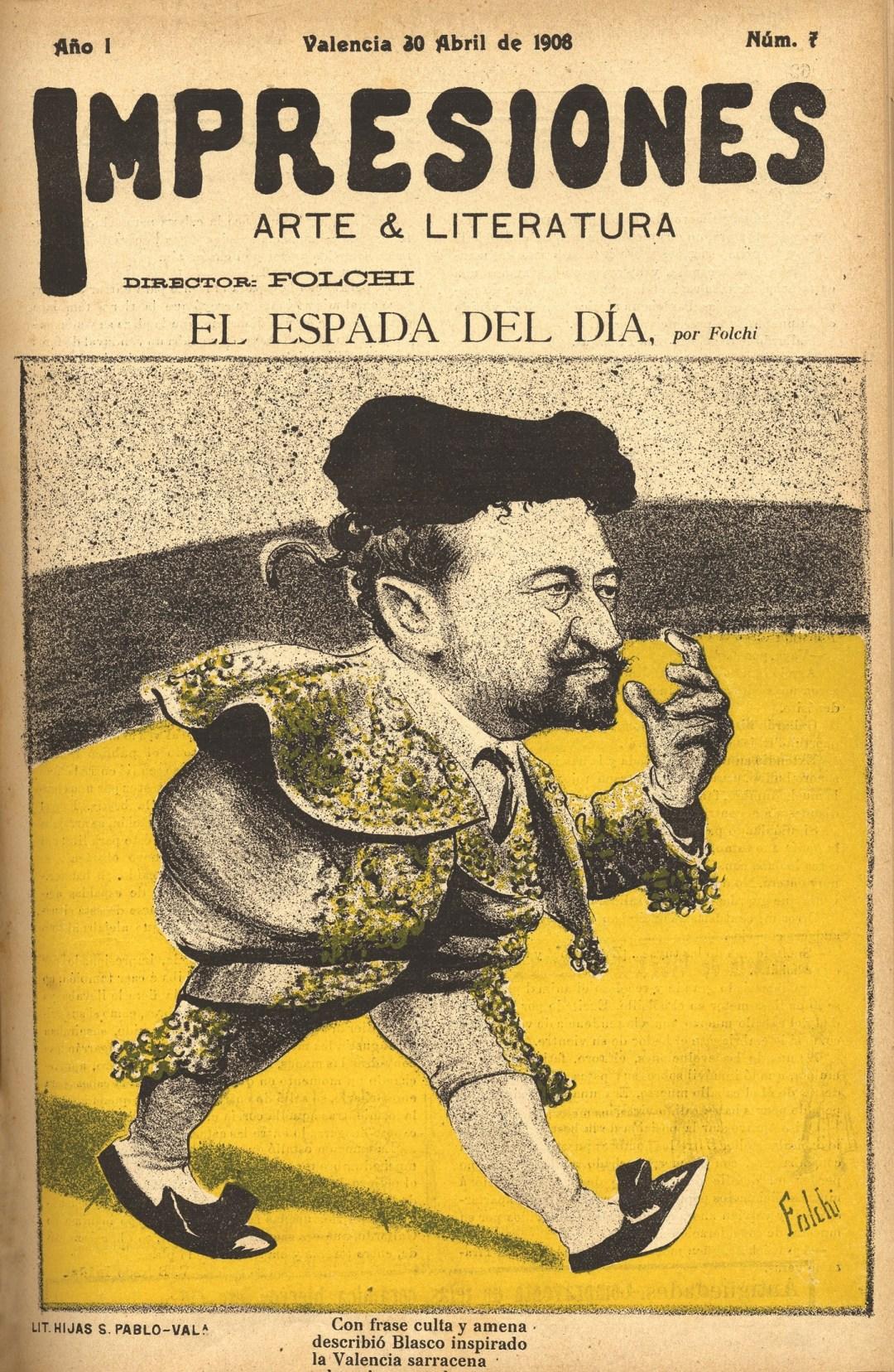Caricatura hecha por Folchi a Blasco Ibáñez en una edición de