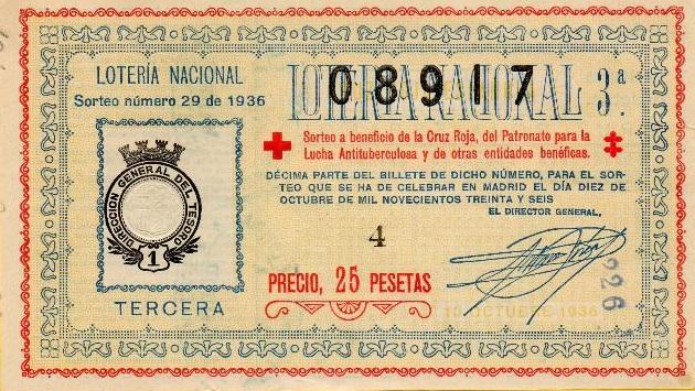 Boleto del sorteo (10 de octubre de 1936), que no pudo celebrarse y que tuvo que hacerse en Enero de 1937. Observen la fecha de la disposición del sorteo.