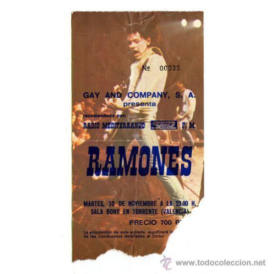 Los Ramones en la sala BONY AÑO 1981. Entrada. Fuente: Todocoleccion.
