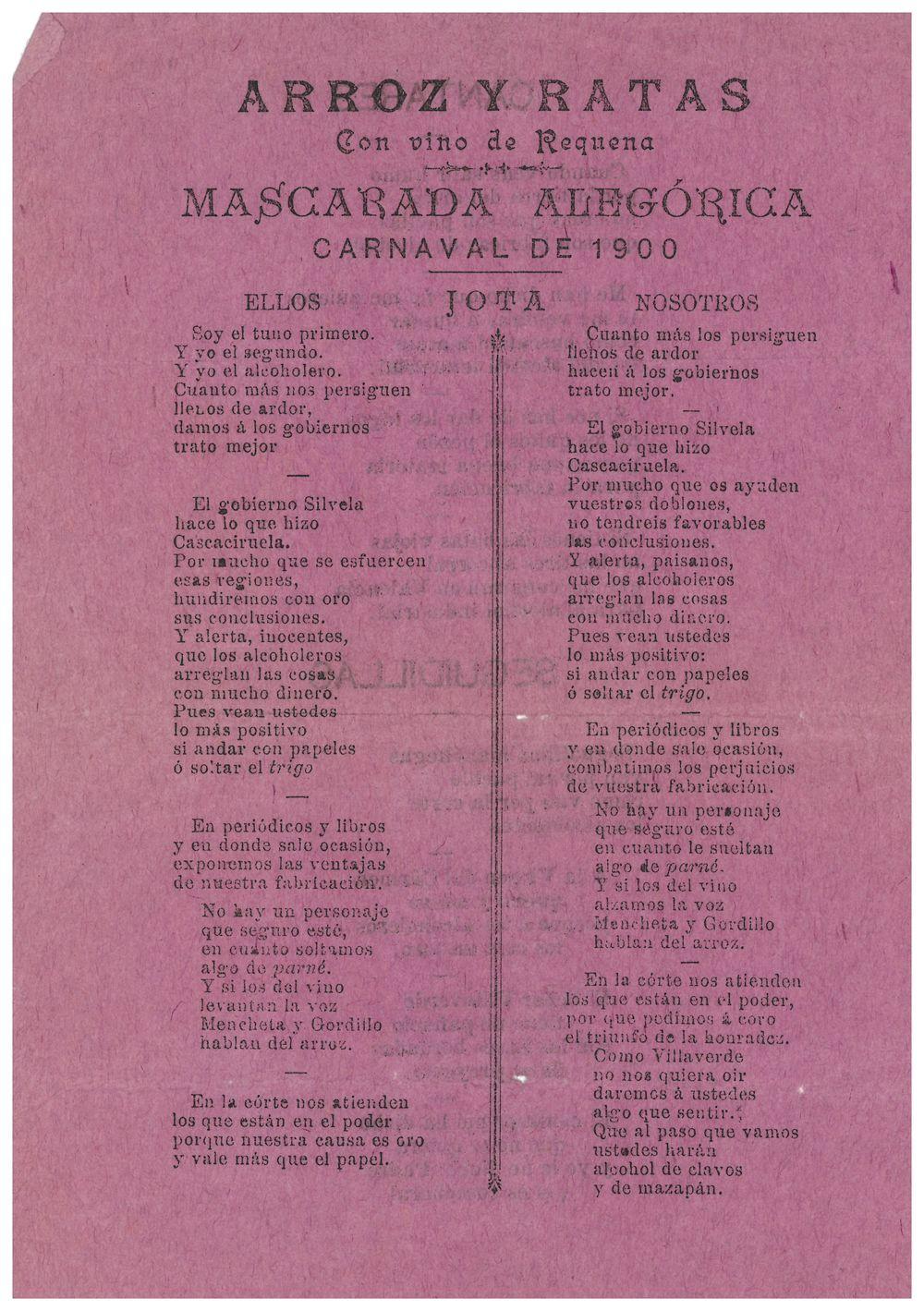 Arroz y ratas con vino de Requena. Año 1900. Fuente: requena.es