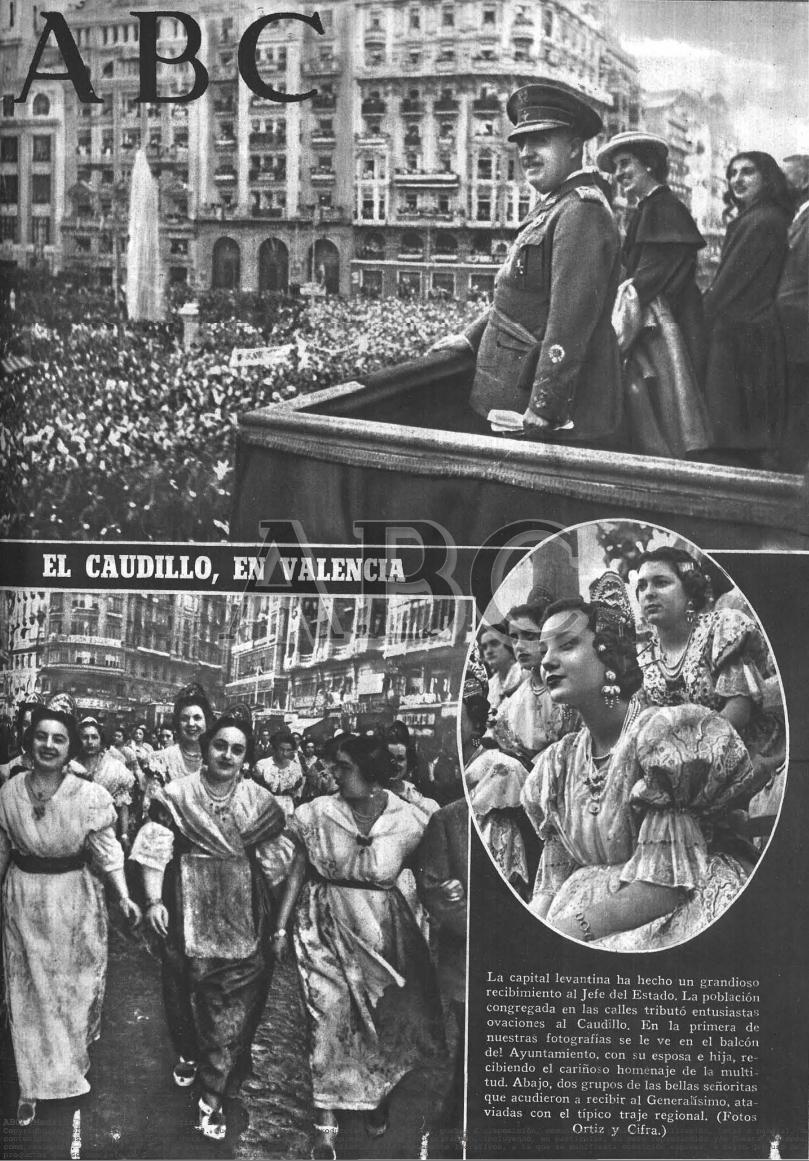 Portada de 1947 con la llegada de Franco. Fuente: ABC