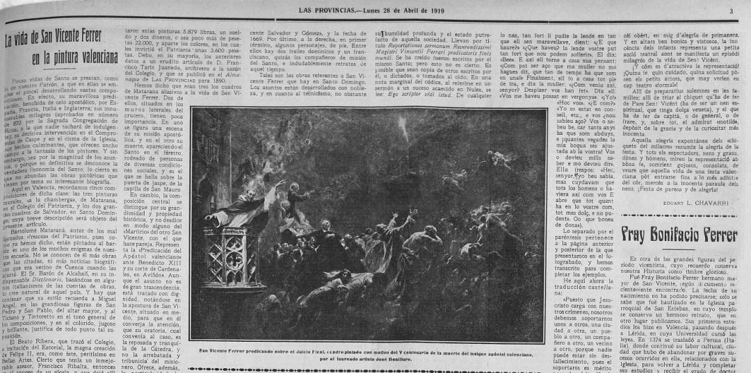 Las Provincias : diario de Valencia: Año LIV Número 16310 - 1919 abril 28 (28/04/1919). Fecha en el mes que se celebraba su V centenario.