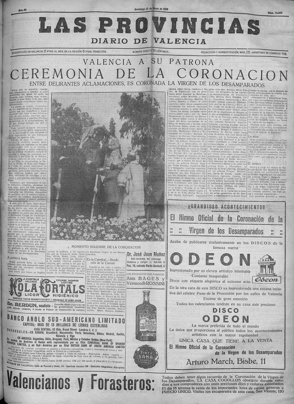 'Las Provincias : diario de Valencia: Número 16665 - 1923 mayo 13 (13/05/1923)