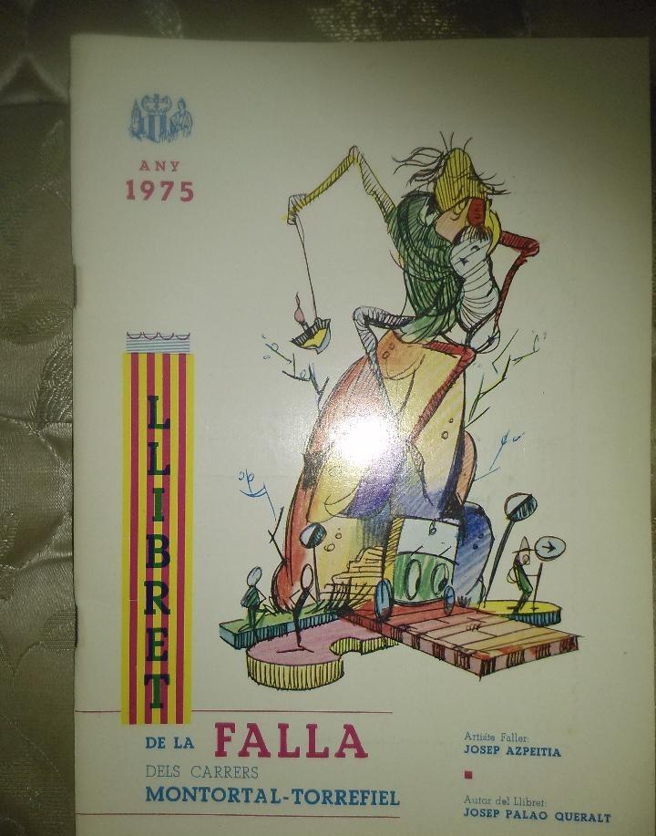 Llibret de la falla Montortal Torrefiel 1975 donde puede verse el boceto de la falla de aquel año. Fuente: todocoleccion.net