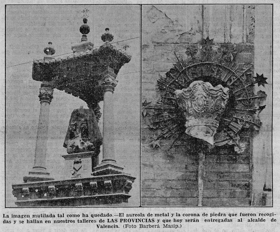 Imagen publicada el Miércoles 9 de agosto de 1933 en Las Provincias de los hechos ocurridos el 8 de agosto.
