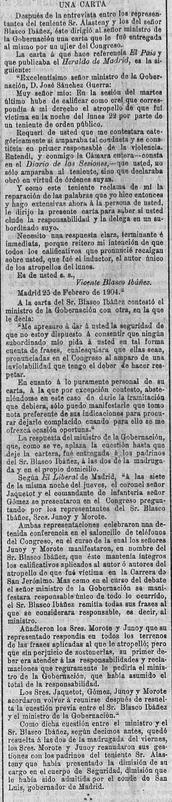 'El Pueblo : diario republicano de Valencia (28/02/1904).