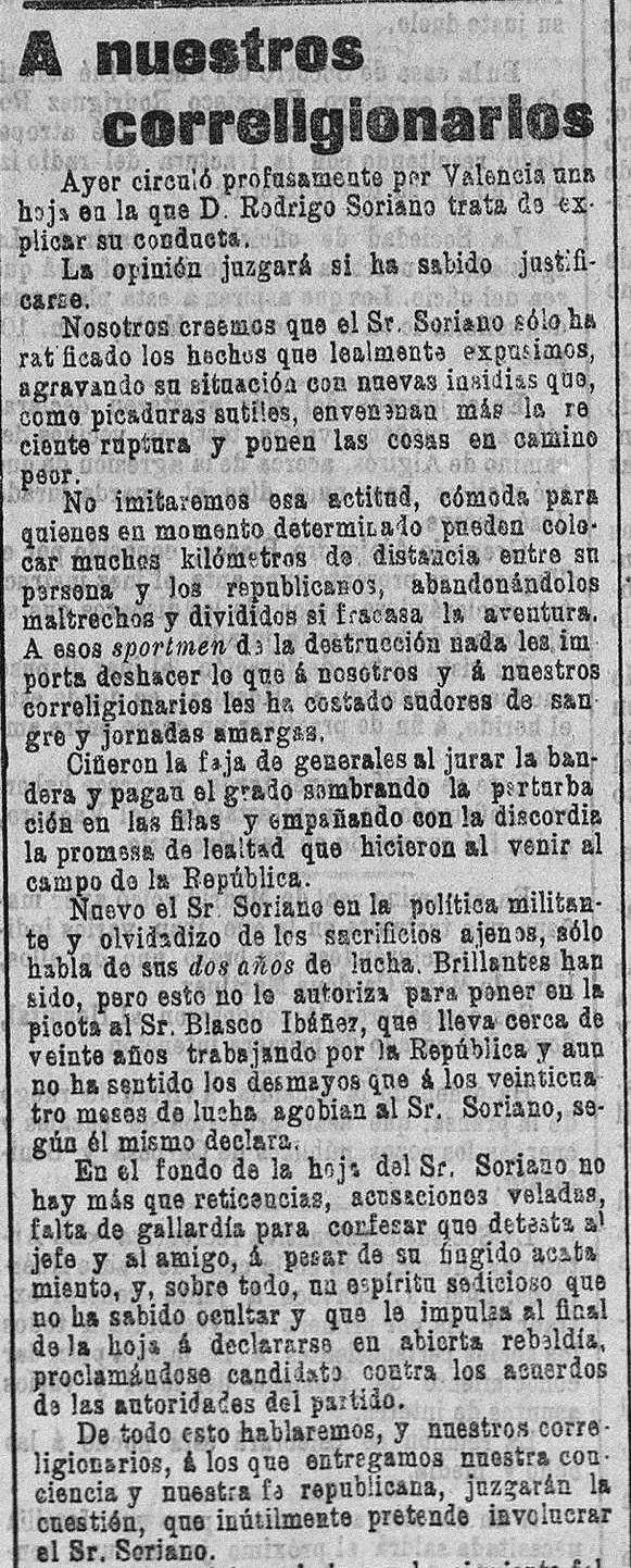 """Fragmento de la respuesta de la redacción de """"El Pueblo"""": diario republicano de Valencia (18/02/1903)."""