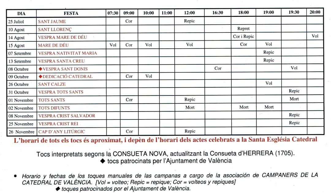Calendario de Toques Manuales de Campanas de El Micalet para 2016/2017