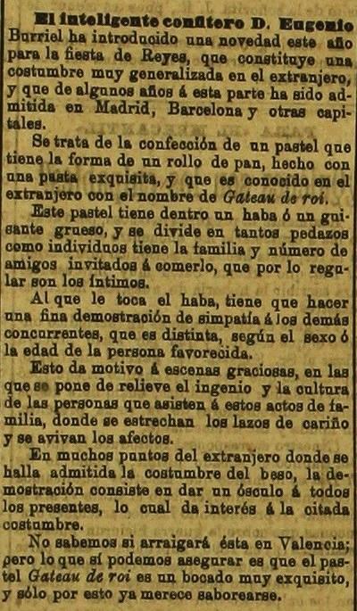 Gâteau des Rois, 4 de enero de 1899 en el Levante, El Mercantil Valenciano