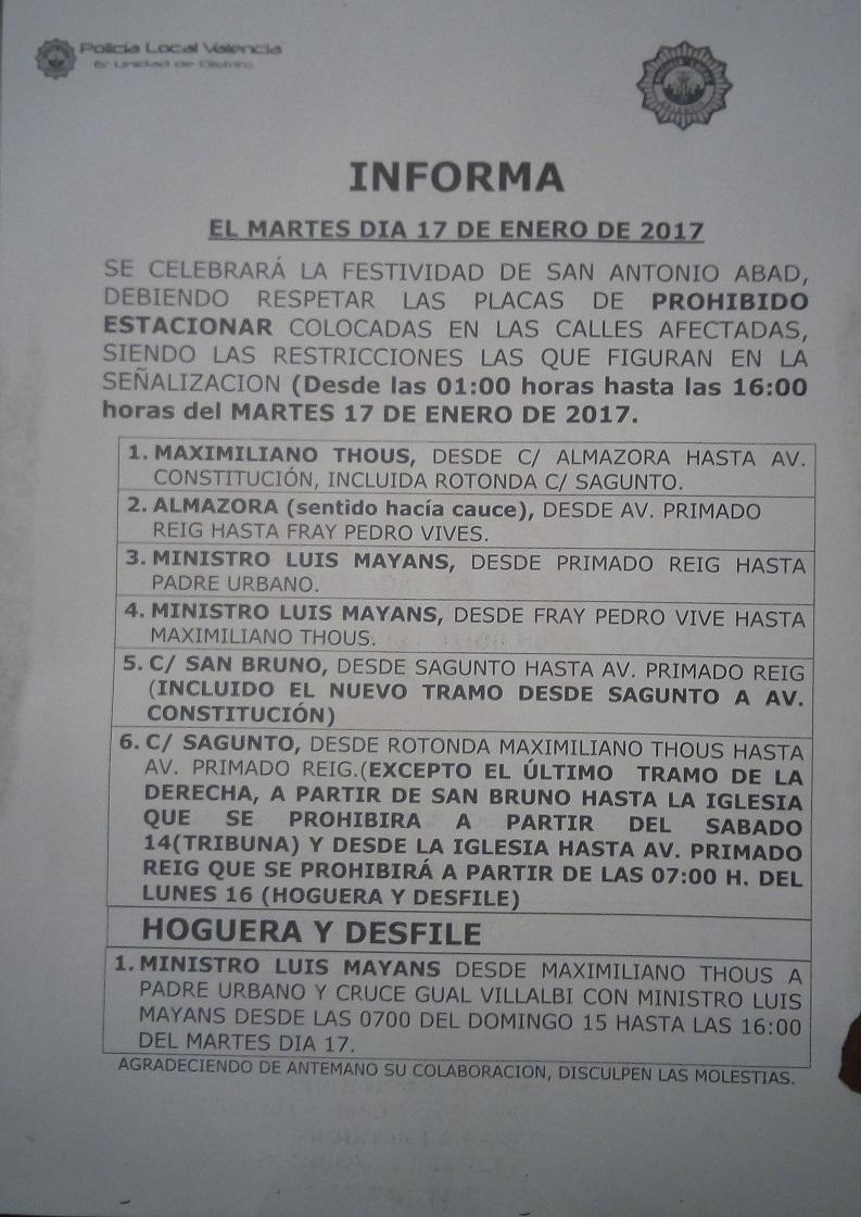 Cortes tráfico Bendiciones San Antonio calle Sagunto Valencia