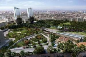 Figuración del proyecto de Parque Central que ganó obra de Kathryn Gustafson