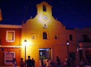 La iglesia de El Palmar en la noche del 26 de diciembre