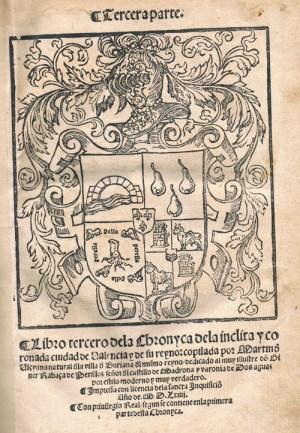 Portada de la tercera parte de la Crónica de Valencia de Martín de Viciana, impresa en 1564. Obsérvese que en el pie se menciona el Privilegio Real inserto en la primera parte.