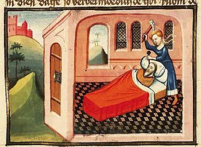 Jael y Sísara del Libro de los Jueces, KB 78 D38 I (Utrecht, h.1430), La Haya