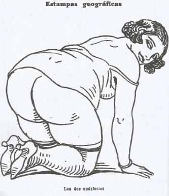 Uno de los dibujos de La Traca cuyo pie indica 'Los dos emisferios'.
