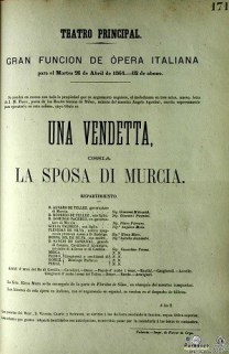 Cartel de representación de 'Una Vendetta, La sposa di Murcia', Teatro Principal de Valencia, 26 abril 1864.(Imagen ofrecida por El Club del Escenario).