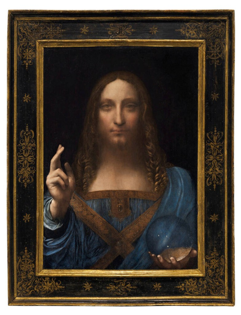 """FILE PHOTO: """"Salvator Mundi,"""" an ethereal portrait of Jesus Christ which dates to about 1500, the last privately owned Leonardo da Vinci painting, is on display for the media at Christie's auction in New York, NY, U.S., October 10, 2017.   Courtesy Christie's New York/Handout via REUTERS/File Photo     ATTENTION EDITORS -   THIS IMAGE HAS BEEN SUPPLIED BY A THIRD PARTY.  NO RESALES. NO ARCHIVES"""