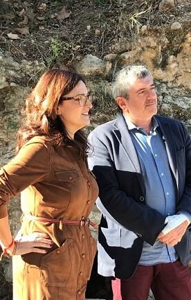 Josep Bort y Maria Josep Ortega durante la visita a Carlet.