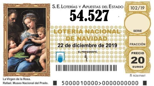 SEXTO QUINTO PREMIO Nº 54.527 de la lotería de Navidad