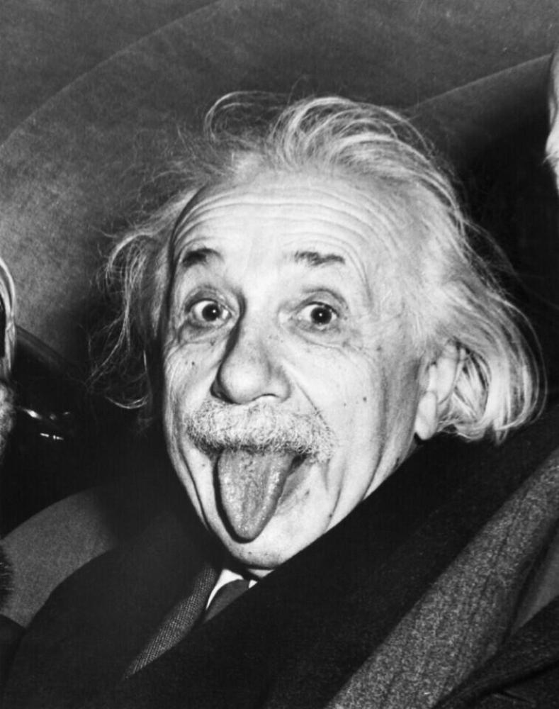 Albert Einstein sticks out his tongue when asked by photographers to smile on the occasion of his 72nd birthday on March 14, 1951.
