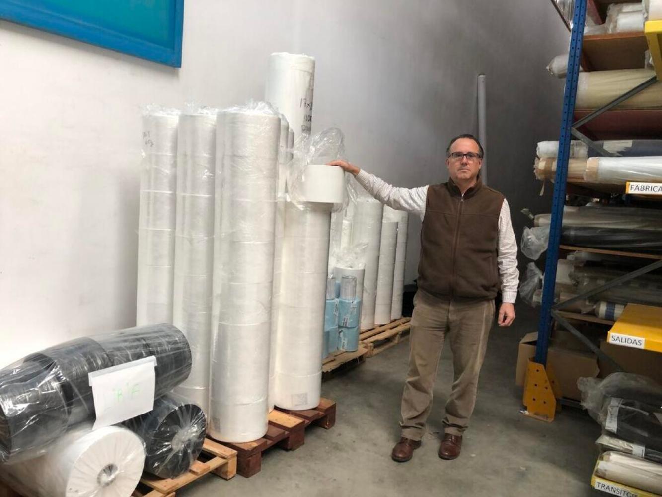 : Imagen de Gonzalo Julián Orduña, en las instalaciones de Textil Babaria