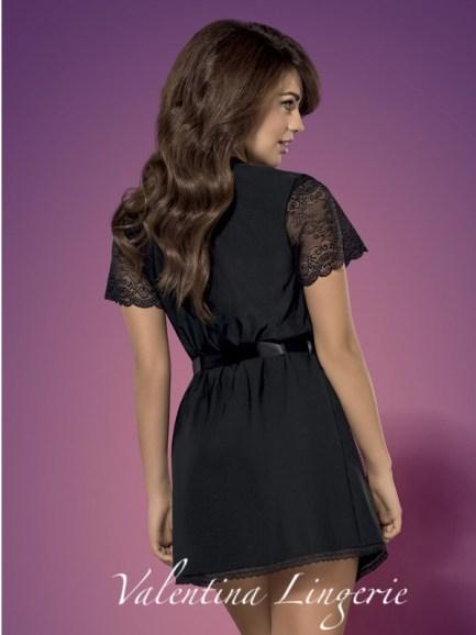 peignoir en dentelle noir valentina lingerie efy