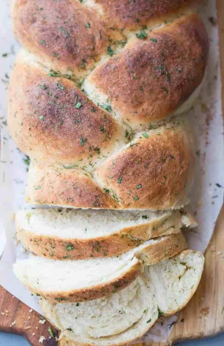 Soft bread braid with butter and herbs and a garlic crust. So good.