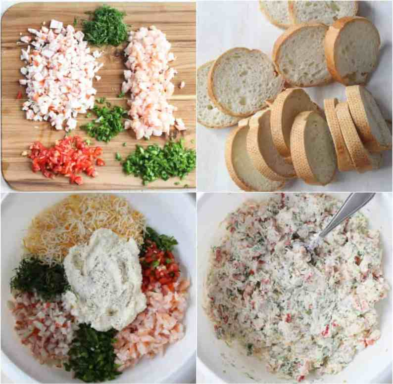 Step by step pictures on how to make hot seafood canapes.