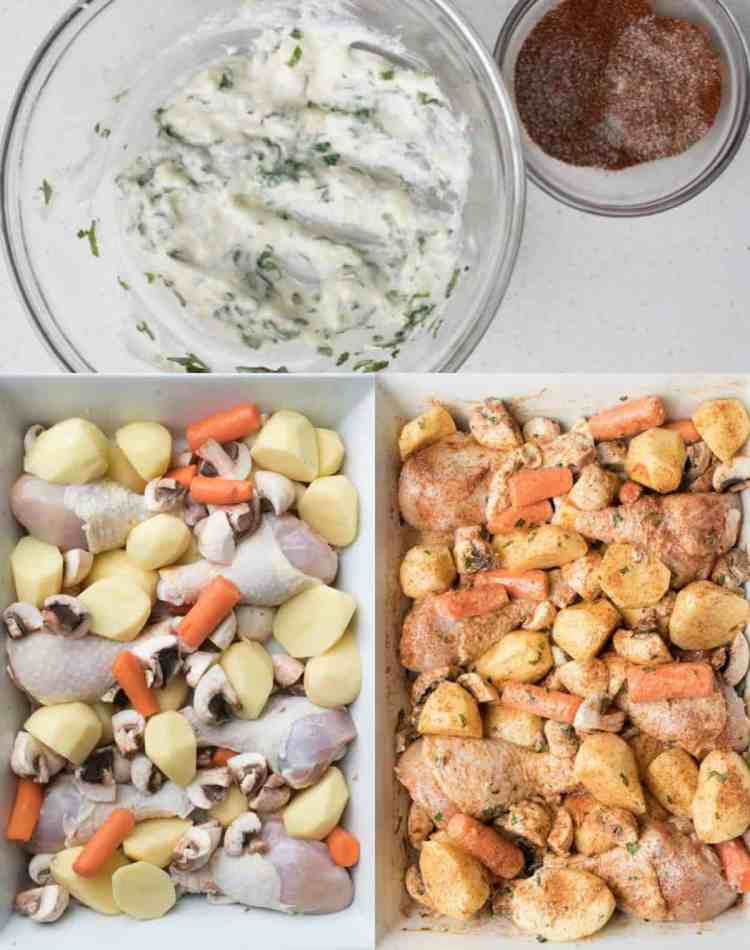 Step by step on how to make One Pan Baked Chicken Potatoes and Vegetables.