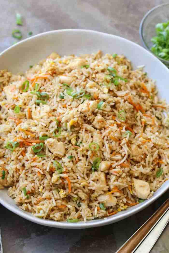 Easy chicken fried rice recipe valentinas corner easy chicken fried rice in a bowl ccuart Choice Image