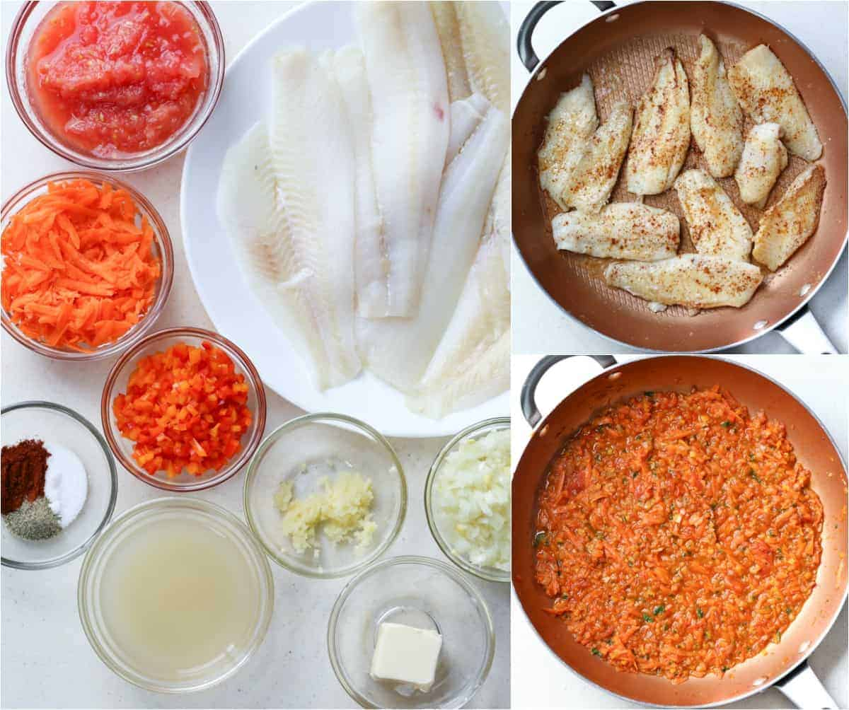 Step by step pictures for flounder with vegetables. How to cook flounder.