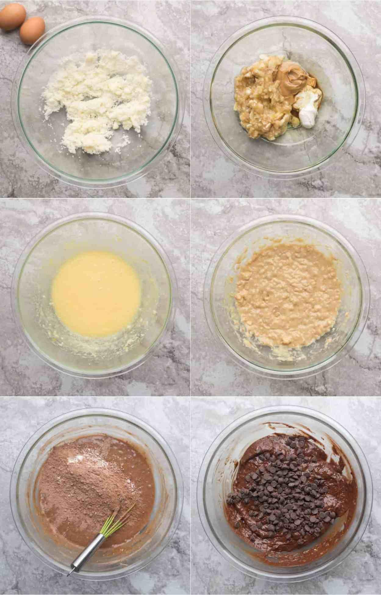 How to make chocolate chip banana bread recipe batter.