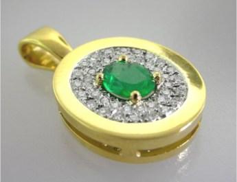Valenzya Emerald and Diamond Gold Pendant