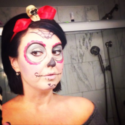 Well, here I am Sunday as the Sugar Skull version of Snow White