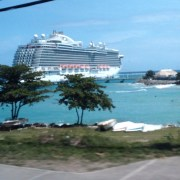 View of the ship from the bus