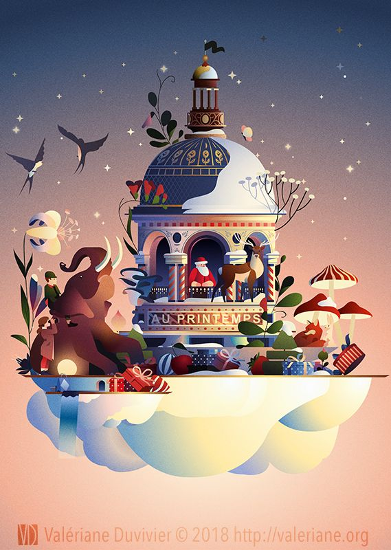 Copie de l'affiche des Voyages du Père Noël du magasin Printemps