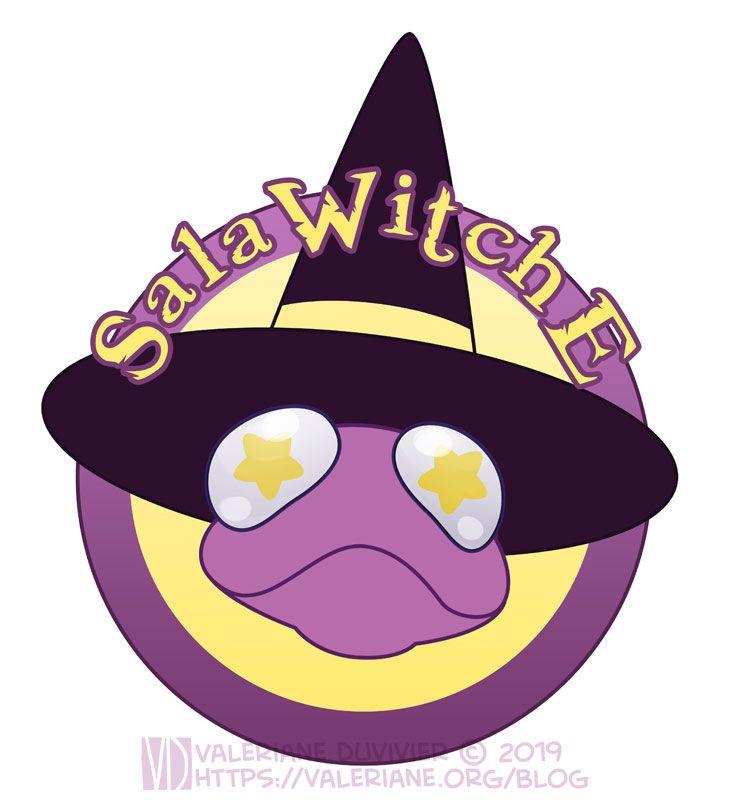 Logo pour l'Ateleir de la SalaWitche, représentant une salamandre mauve avec un chapeau de sorcière