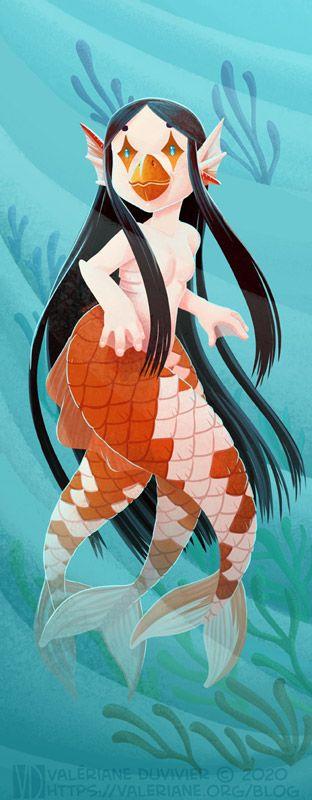 Sirène aux longs cheveux noir et à trois queues, inspirée par les carpes koi et la créature japonaise amabie