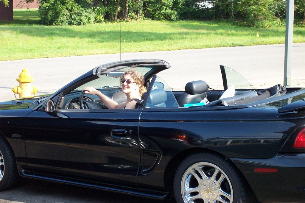 Valerie in 1998 Ford Mustang convertible