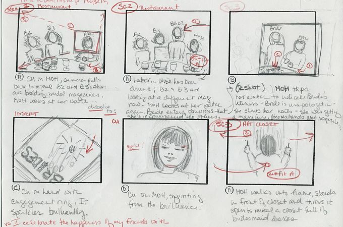 a storyboard the first scene when brides is late joining bridesmaids the short film The Maid of Honor