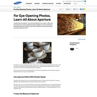 screenshot of Samsung web article about aperture
