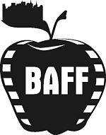 Apple with filmstrips on sides and letter BAFF - Big Apple Film Festival logo