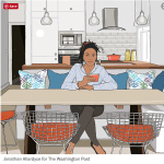 blog about Washington Post article on decluttering entitled clearing the way; illustration by Jonathan Allardyce pictures woman in clutter-free home