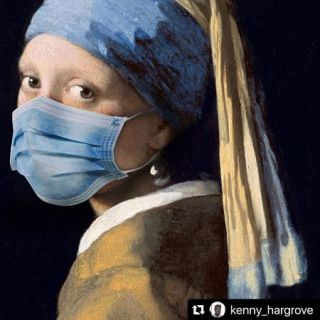 Vermeer's Girl with Pearl Earring with PPE mask