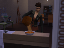 Evyn serving chilli for dinner