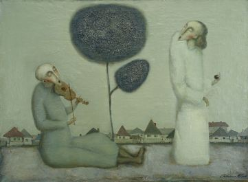"""Lonely Musician"" 23in x 31in Oil,linen 1990y"
