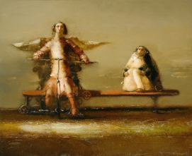 """Mechanical Bench for the Angel"" 24 in x 35 in Oil on Belgian linen"